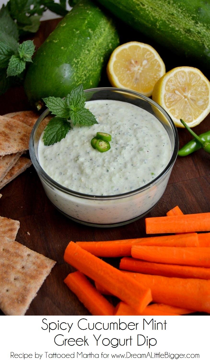 Spicy Cucumber Mint Greek Yogurt Dip at DALB
