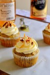 Toasted Coconut Banana Cupcakes with Rum Spiked Honey Swirl Frosting