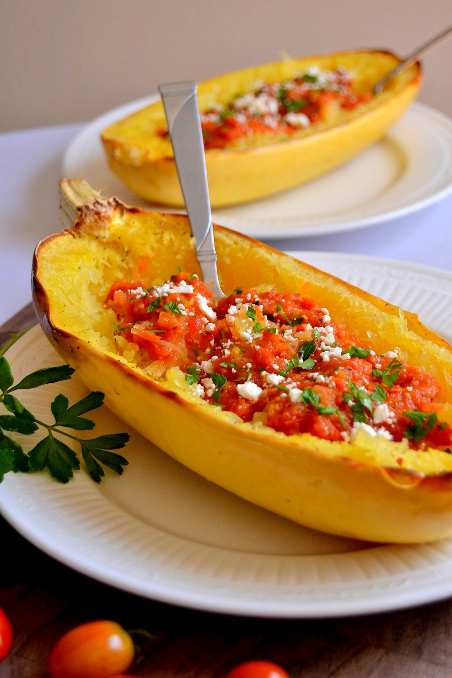 Spaghetti Squash with Roasted Garlic Cherry Tomato Sauce
