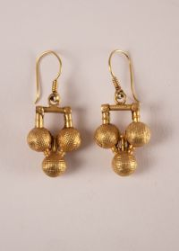 22 Karat Gold Tribal Indian Dangle Wire Earrings with ...