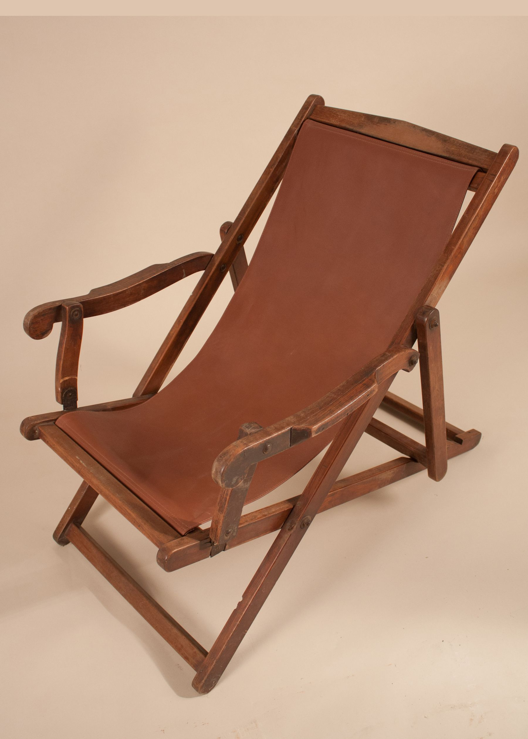 Antique British Campaign Mahogany Plantation Lounge Chair