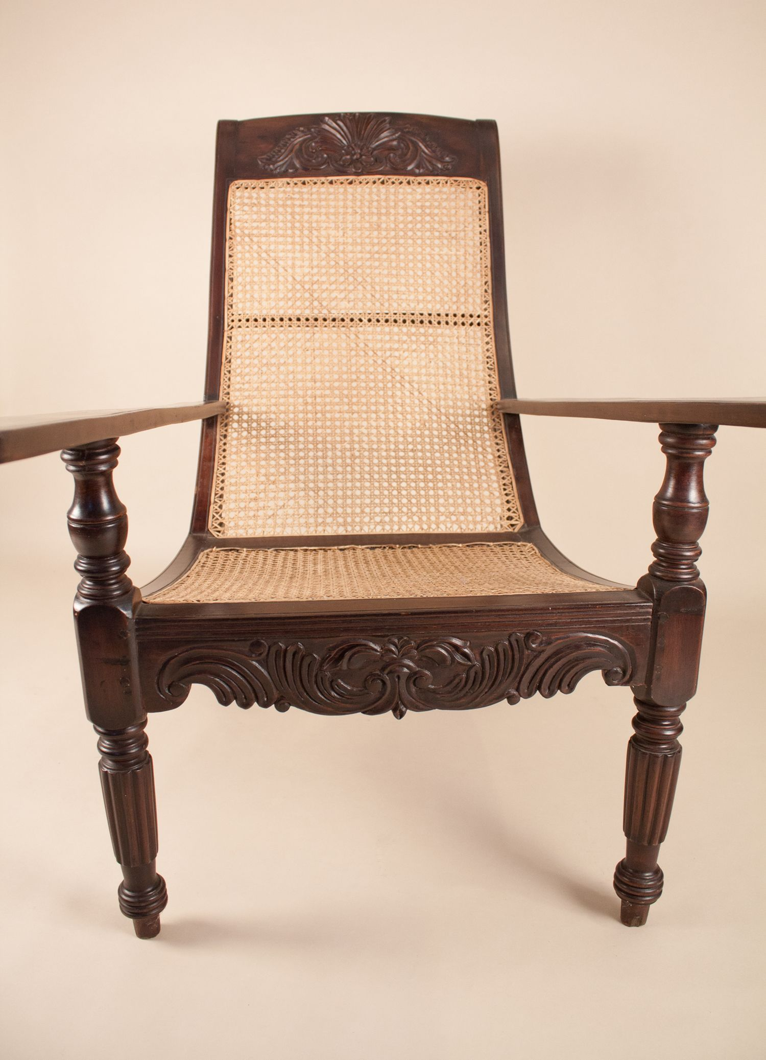 british colonial chair norman cherner pretzel antique anglo indian exotic hardwood caned planters
