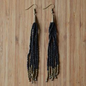Fair Trade Long black and gold bead earrings JEBEbg