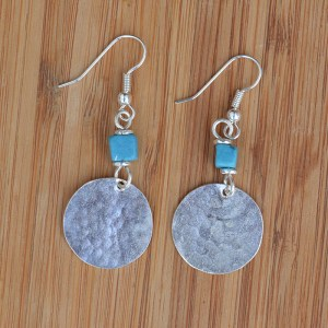 Fair Trade Silver plated disc + turquoise chip earrings JEMS20
