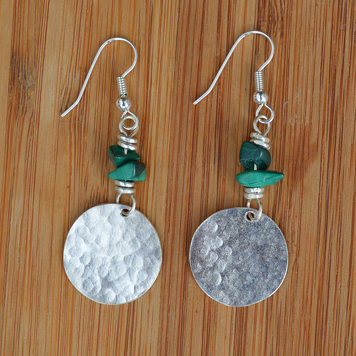 Fair Trade Silver plated disc + malachite chip earrings JEMS56