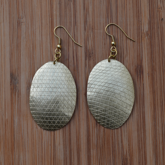 Fair Trade Brass domed teardrop + scratch earrings JEMB25