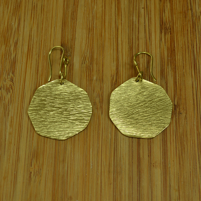 Brass hexagon earrings JEMB41