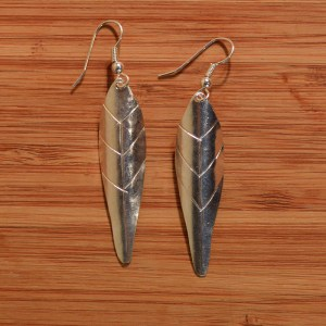 Fair Trade Silver plated medium leaf earrings JEMS60