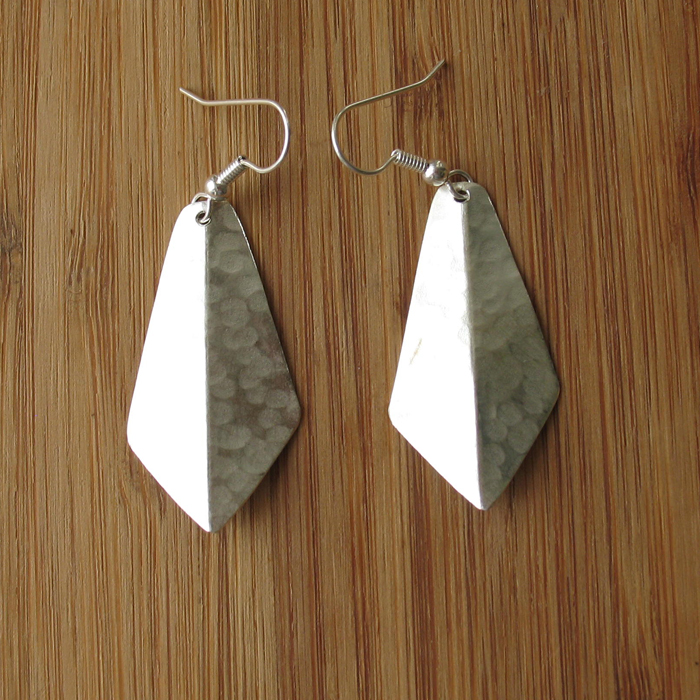 Fair Trade Silver plated 2D small triangle earrings JEMS33