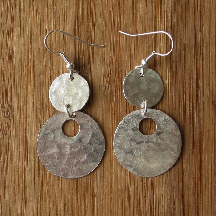 Fair Trade Silver plated 2 circle with hole earrings JEMS35