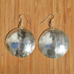 Fair Trade Silver plate large circle earrings JEMS7