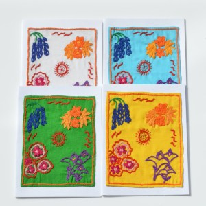 Fair Trade Cards embroidered flowers – pack of four -CPef