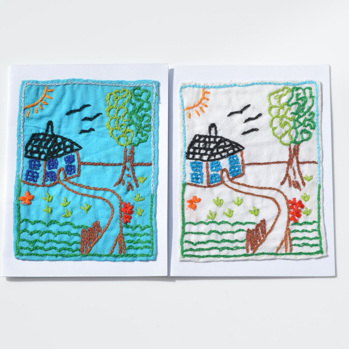 Fair Trade Cards embroidered cottage – pack of two -CPec