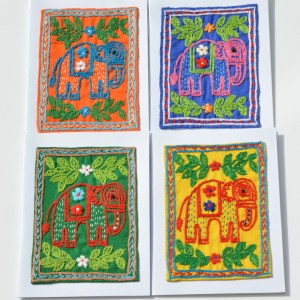 Fair Trade Cards embroidered elephant trad – pack of four -CPeet