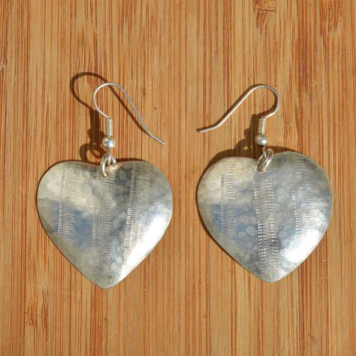 Fair Trade Silver plate heart earrings JEMS8