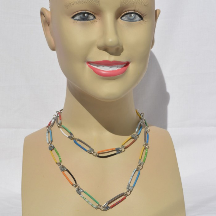Fair Trade Safety pin and telephone wire long necklace JNR1