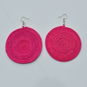 Fair Trade Sisal earrings – large, fuchsia pink, JESlp