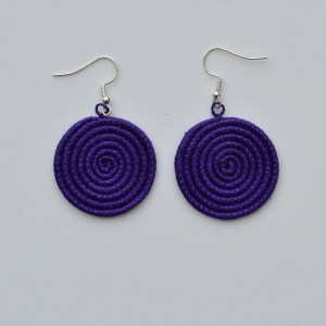 Fair Trade Sisal earrings – small, purple  JESs