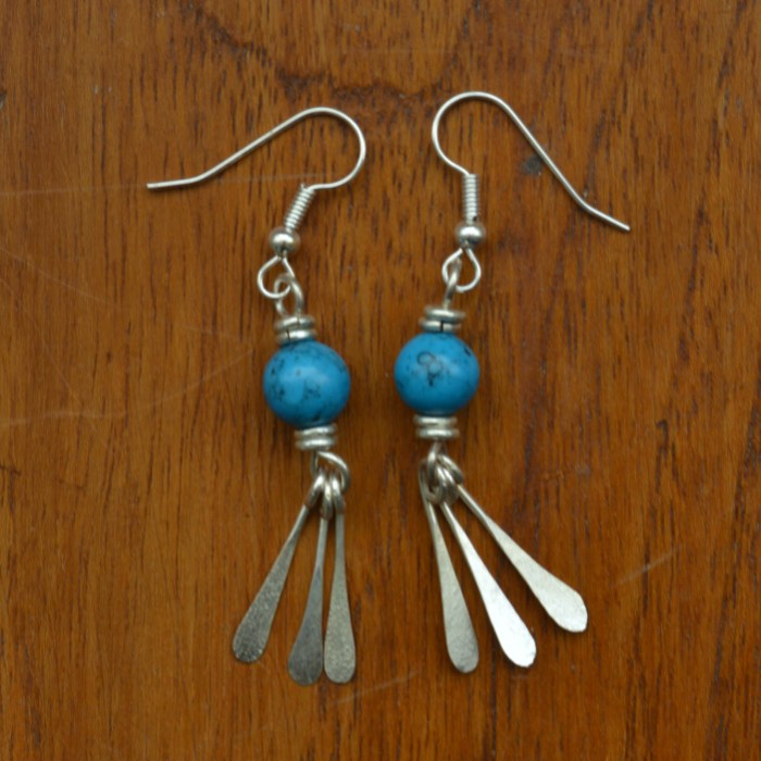Fair Trade Silver plate turquoise and three mini petal earrings JEMS19