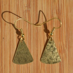 rounded brass triangle earrings