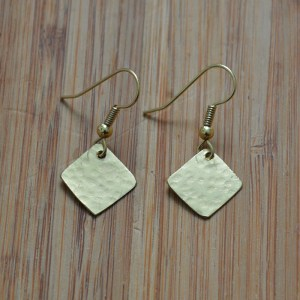brass mini diamond earrings