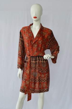 blockprinted dressing gown