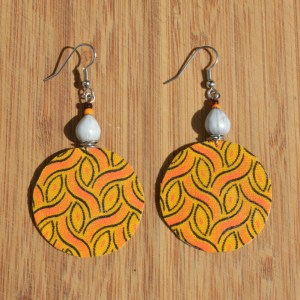 Fabric covered earrings yellow