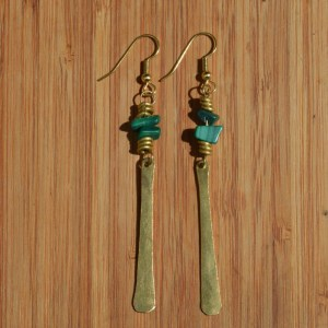 brass earrings long