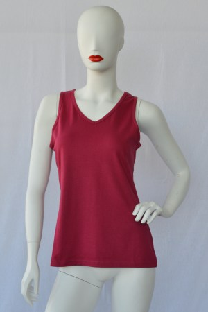 red fair trade cotton vest