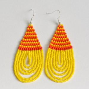 yellow maasai bead earrings