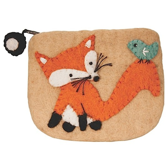 fox felt coin purse
