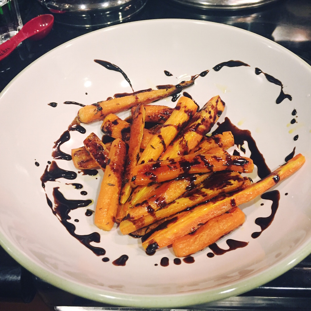 balsamic chocolate glaze carrots