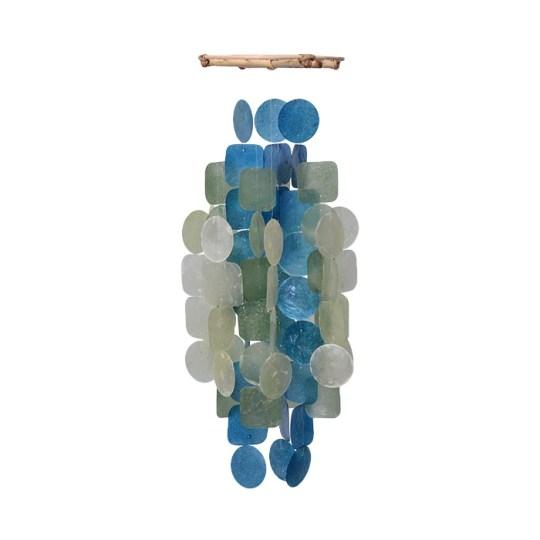 green blue capiz shell chime med