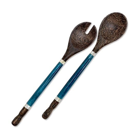 indigo capiz palm wood servers