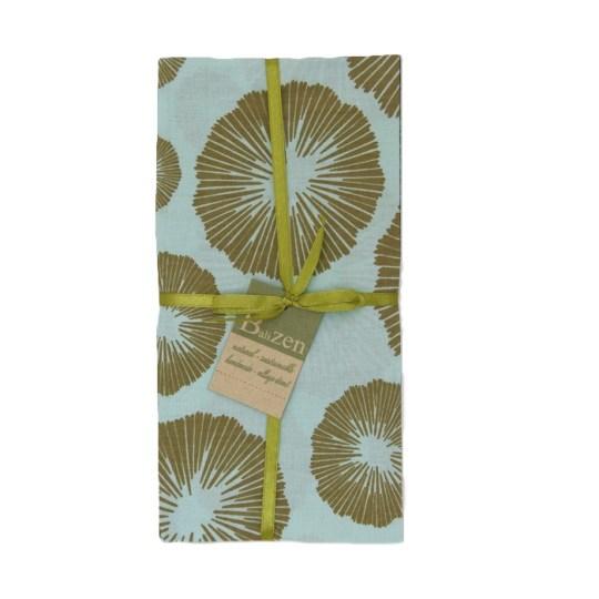 olive aqua seaflowers napkins