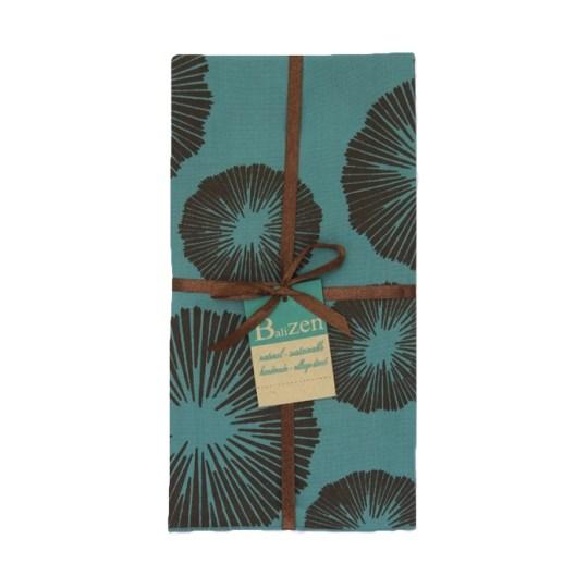 teal brown seaflowers napkins