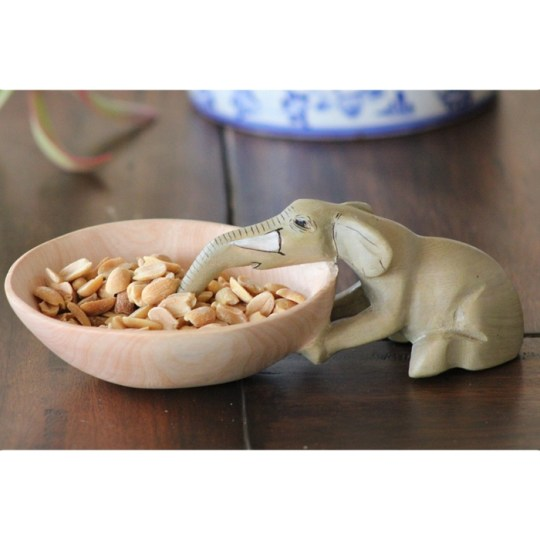 wood elephant bowl