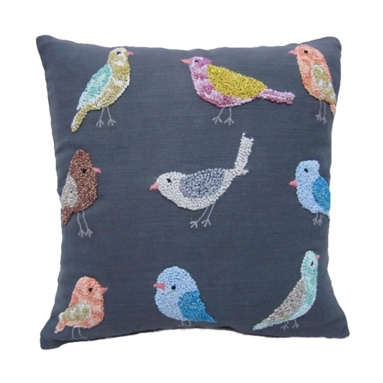 knotty bird embroidered pillow