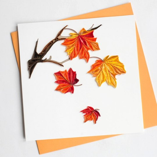 autumn leave quilling card