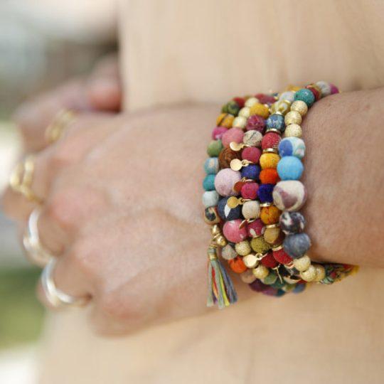 stacked kantha bracelets