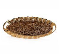 Ellipse Gold Color Decorative Ottoman Serving Tray ...