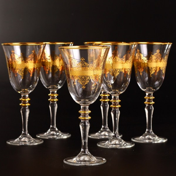 Gold Rimmed Middle Eastern Style Wine Glasses Set