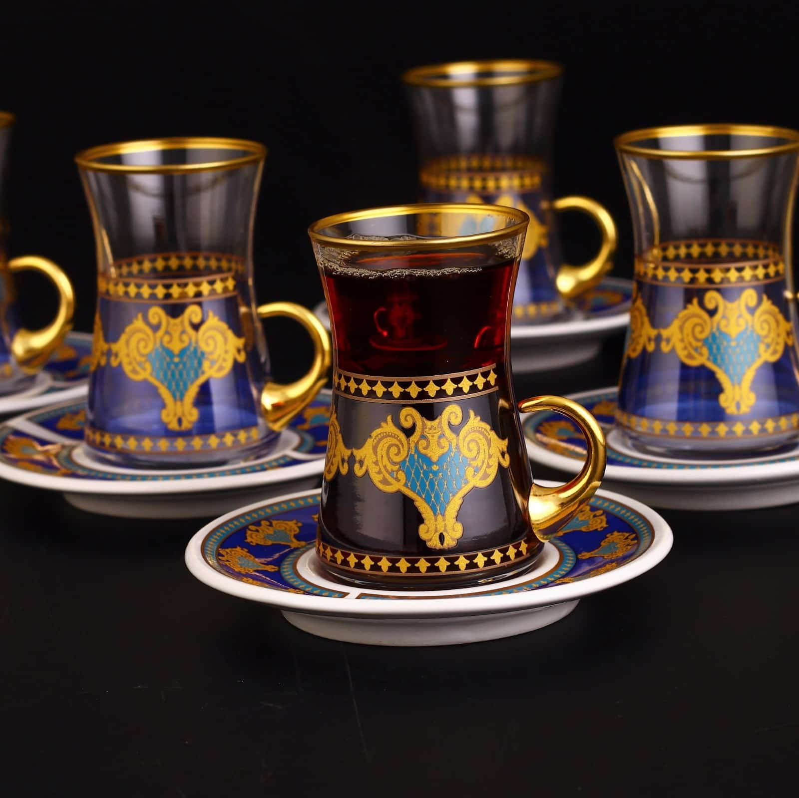 Authentic Turkish Tea Set With Holder Porcelain Saucers