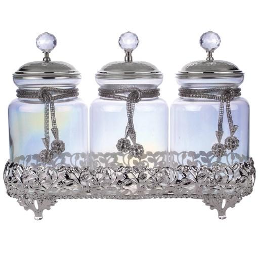 silver color jar set
