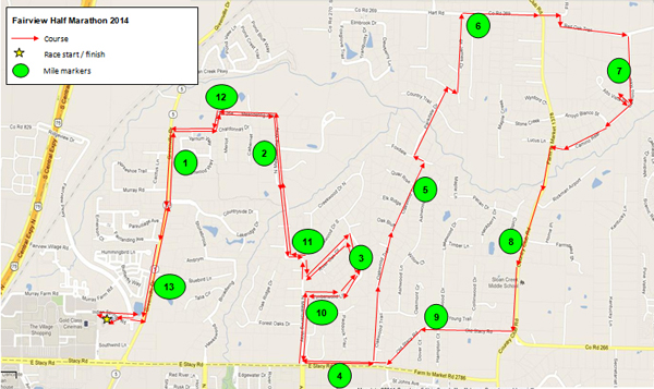 Fairview Half Marathon Route