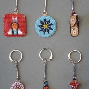 Beaded Native American Design Key Chains   8-824