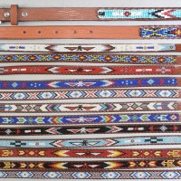 Native American Kids Beaded Leather Belts
