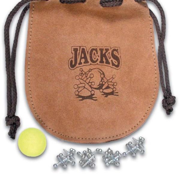 "Drawstring Leather Poke ""Jacks"" Design"