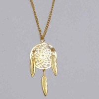 All Gold Dreamcatcher Necklace with 3 Feathers