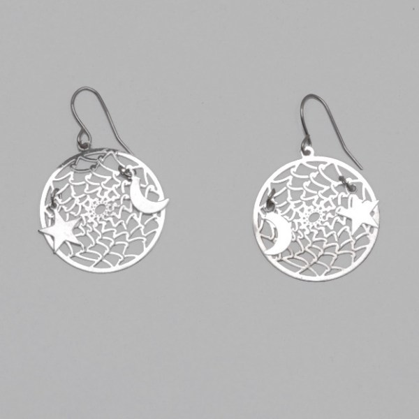 All Silver Dream Catcher with Moon and Star Earrings